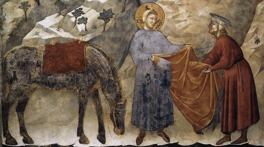 Giotto di Bondone, Francesco che dona il mantello a un povero (particolare), Basilica Superiore, Assisi